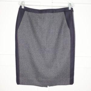 Women's J. Crew Wool Navy Gray No.2 Pencil Skirt 8